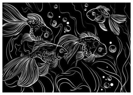 Гравюра Рыжий кот А5 с эффектом золота Красивые рыбки