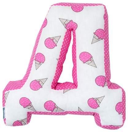 Подушка Крошка Я буква Д 35х37 см, розовый
