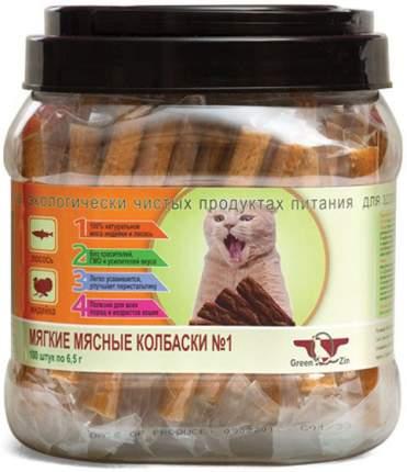 Грин Кьюзин Лакомство мягкие мясные колбаски для кошек лосось/индейки 650 г