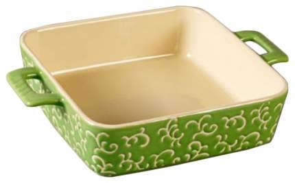 Форма керамическая ТМ Appetite 26х19х6см квадратная с ручками, Зеленый