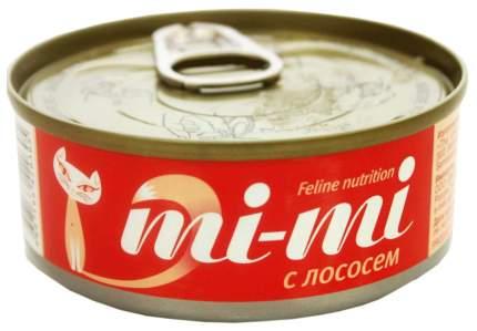Консервы для кошек и котят Mi-mi с лососем 80 г, 24 шт
