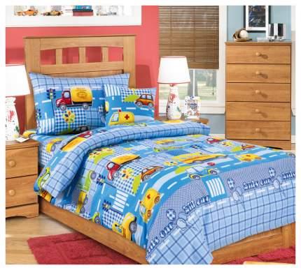 Комплект детского постельного белья Текс-Дизайн Машинки, цвет голубой