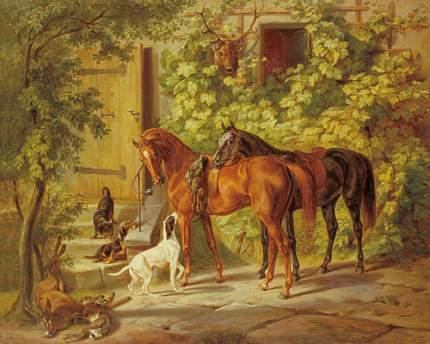 Репродукция Адама Альбрехта, Лошади у крыльца 32х40 см