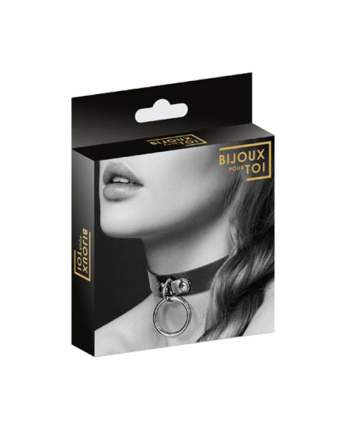 Ошейник Bijoux Indiscrets Collier Fetish Noir из полиуретана с кольцом узкий