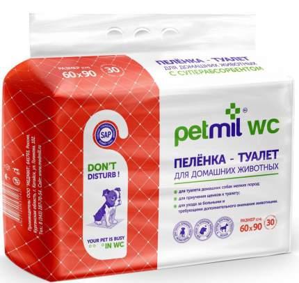 Пеленка для животных Petmil впитывающая одноразовая с суперабсорбентом, 60 х 90 см, 30 шт