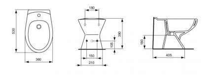 Биде напольное Ideal Standard Eurovit+W804001/Эко белый