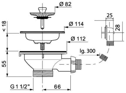 Выпуск Wirquin Чаша D90 мм из нержавеющей стали с прямоугольным переливом