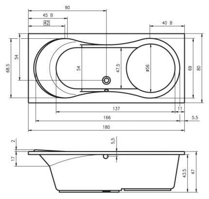 Акриловая ванна Riho Tofield 180х80 без гидромассажа