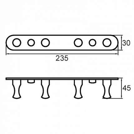 Планка с крючками четверная Milardo 002SM40M41