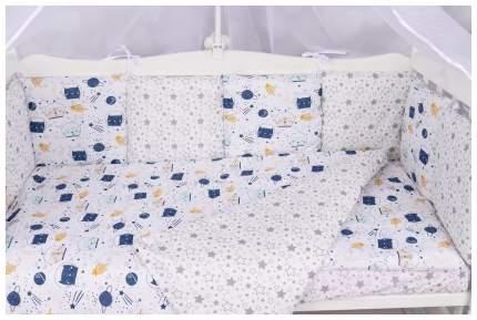 Бортик в кроватку 12 предметов (12 подушек-бортиков) AmaroBaby КОСМОС (белый)