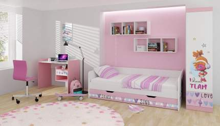 Детский стол письменный Polini kids Fun 1000 Тролли, розовый