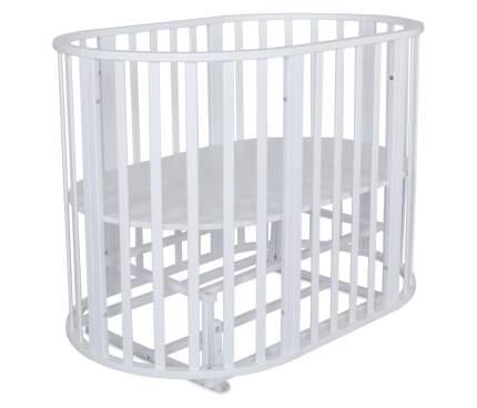 Кроватка-трансформер овальная Be2Me колесо и продольно-поперечный маятник белая