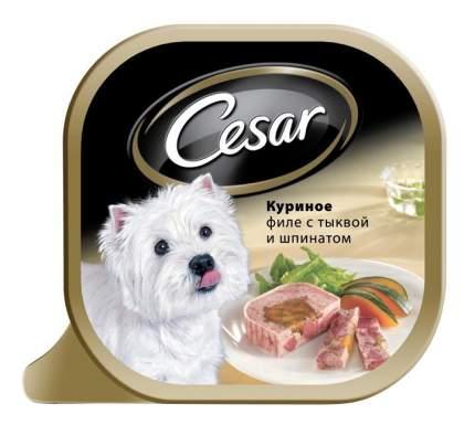 Консервы для собак Cesar, куриное филе с тыквой и шпинатом, 24шт, 100г