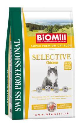 Сухой корм для кошек BIOMILL Swiss Professional Selective, индейка, цыпленок, 10кг