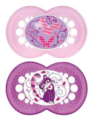 Набор детских пустышек MAM Original розовая и фиолетовая (бабочки, кошка)