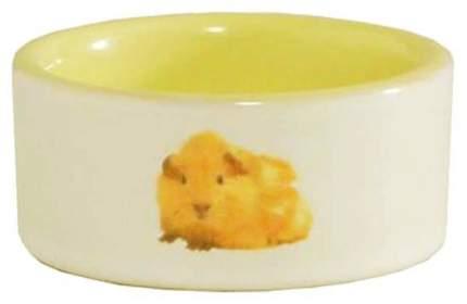 Одинарная миска для грызунов Beeztees, керамика, белый, желтый, 0.12 л