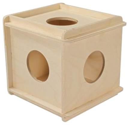 Домик для грызунов Дарэлл, кубик большой, дерево, 12x12см