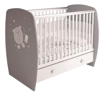 Кровать классическая French 710 Teddy с ящиком белый-серый Polini