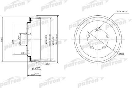 Барабан тормозной PATRON PDR1001