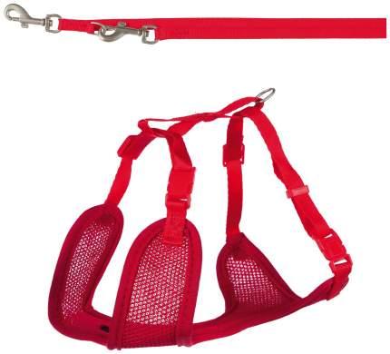 Шлейка для щенков с поводком Trixie Puppy Soft Harness with Leash, красный