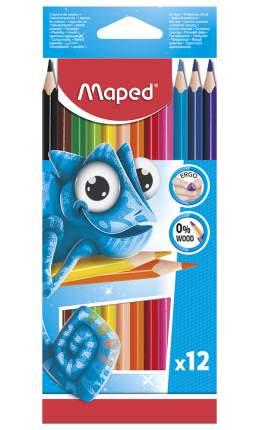Цветные карандаши Maped Pulse пластиковые 12 цветов