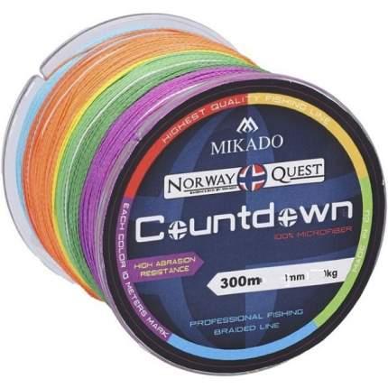 Шнур плетеный Mikado Norway Quest Countdown Multicolor 0,16 мм, 300 м, 12,6 кг