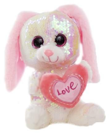 Мягкая игрушка Sima-Land Зайчик с сердцем пайетки 4462324 Розовый