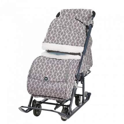 Санки-коляска Ника детям 7-1Б с Ромбиками Серый