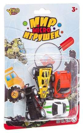 Набор пластм. 4 предмета, машинки, CRD 13,5х20 см, серия Мир micro Игрушек арт.M7732.