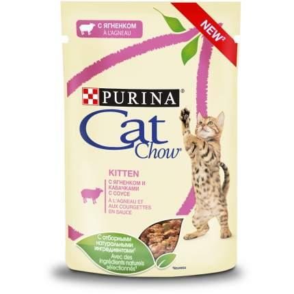 Влажный корм для котят Cat Chow Kitten, с ягненком и кабачками в соусе, 24шт по 85г