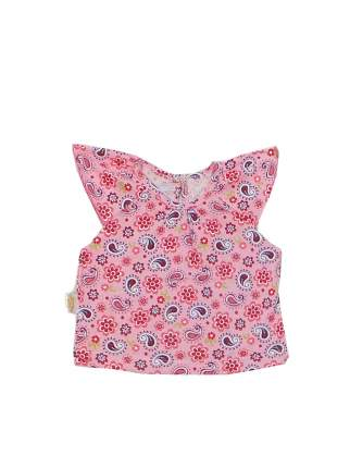 Топ для девочек Желтый кот розовый, размер 98
