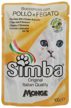 Влажный корм для кошек Simba, с курицей и печенью, 24шт по 100г