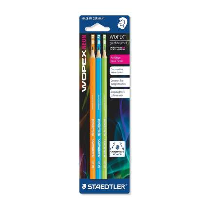 Staedtler Карандаш чернографитный Wopex Neon HB с ластиком, 3шт (цв, неон зел, оранж, г