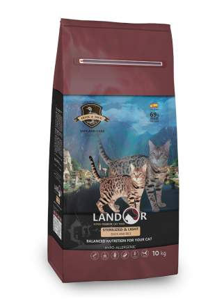 Сухой корм для кошек Landor Indoor Cat, для домашних, утка, 10кг