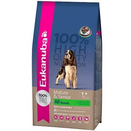 Сухой корм для собак Eukanuba Mature&Senior All Breeds, для пожилых, ягненок и рис, 12кг