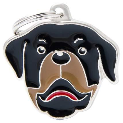 Адресник на ошейник для собак My Family Colors Ротвейлер, средний, 3,4х2,9 см