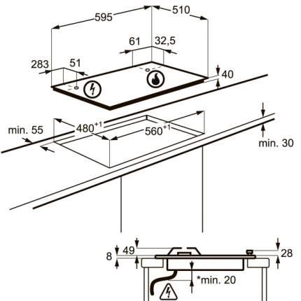 Встраиваемая варочная панель газовая Electrolux GPE362RBW Beige