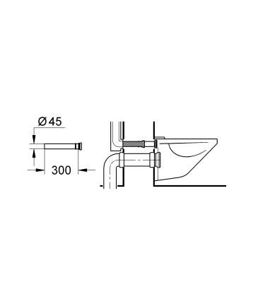 Удлинительный патрубок GROHE для смывного бачка, 300 мм
