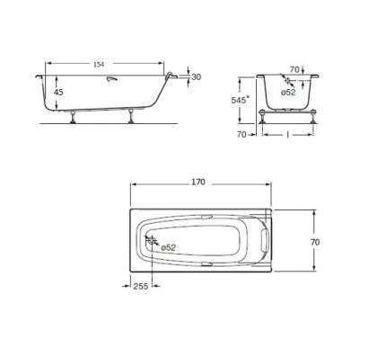 Акриловая ванна Roca Sureste 170х70 без гидромассажа