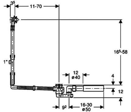 Слив-перелив для ванны удлиненный GEBERIT 150.525.21.1