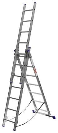 Лестница Зубр универсальная, трехсекционная со стабилизатором, 7 ступеней
