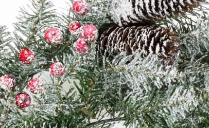Венок Снежная Сказка заснеженный 51 см с ягодами и шишками, ПВХ 31DUF20W