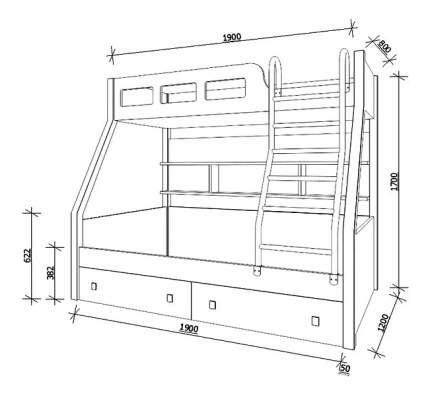 Кровать двухярусная РВ мебель Астра рио голубой/оранжевый