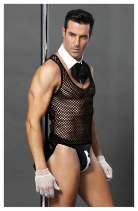 Костюм официанта Candy Boy Juan: топ, воротник и галстук, трусы, перчатки, черно-белый OS