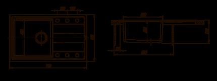 Мойка для кухни комбинированная Florentina Комби 780, антрацит