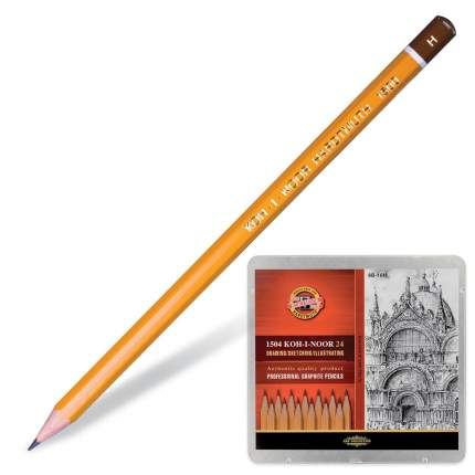KOH-I-NOOR Набор карандашей чернографитных (10Н-8В) KOH-I-NOOR, 24шт.