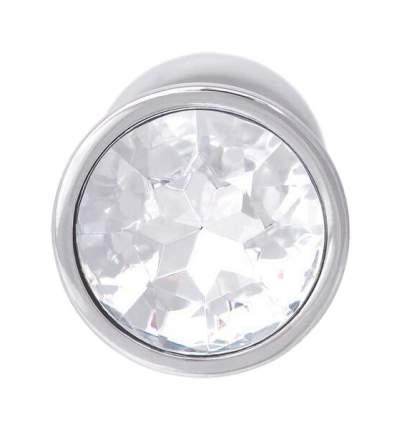 Серебристая Анальная пробка с прозрачным кристаллом в основании 7 см