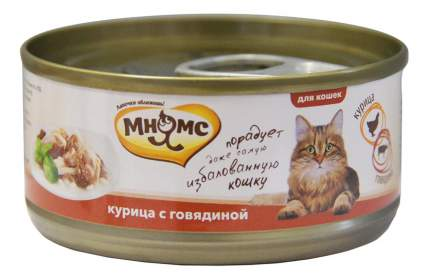 Консервы для кошек Мнямс, курица, говядина, 24шт по 70г