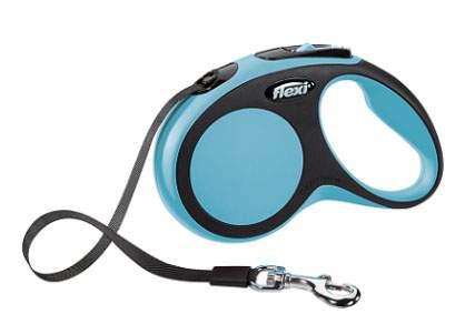 Поводок-рулетка Flexi New Comfort S до 15 кг, лента 5 м, черный-синий