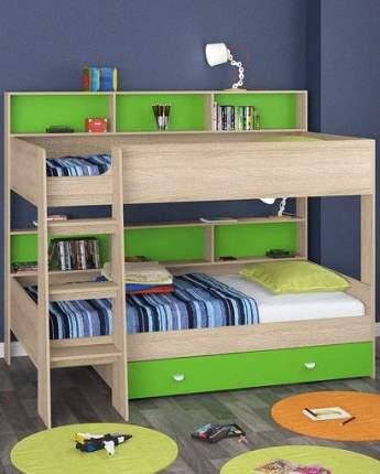 Двухъярусная кровать Golden Kids 1 дуб сонома/зеленая